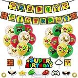 Super Mario Decoración para Fiestas de Cumpleaños con Globos Banderín Feliz Cumpleaños Tarjetas de Tarta Adornos de Casa para Fiestas