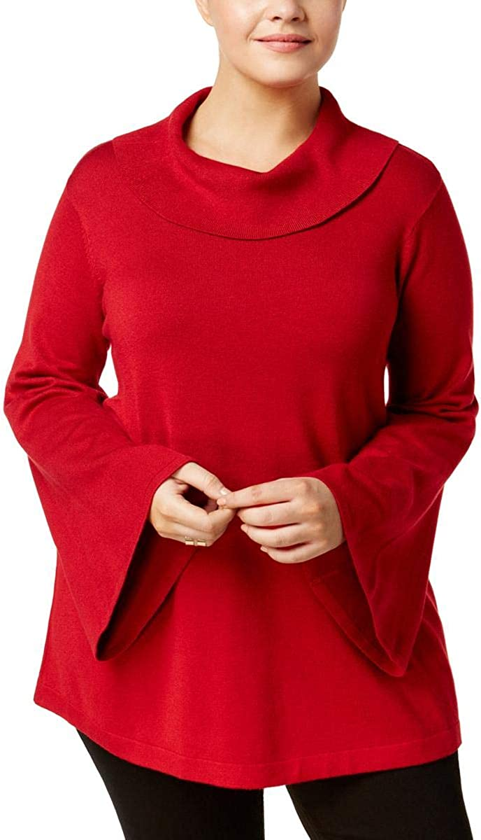 Alfani Womens Plus Cowl Neck Bell Sleeves Pullover Sweater Red 2X