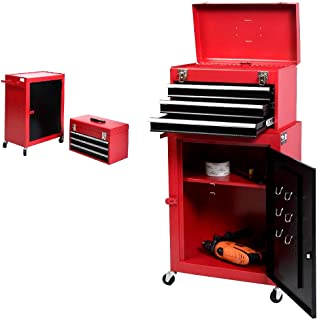 Mini Tool Chest And Cabinet 2pc Storage Box Rolling Garage Toolbox Organizer Red - House Deals