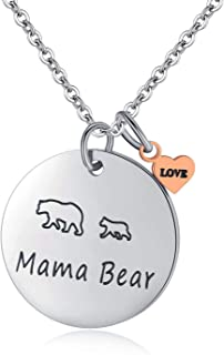Vlinsha Mama Bear Jewelry, Personalized Hand Stamped Stainless Steel Cuff Bracelet with Momma Baby Bears Cubs Gifts for Mom Mother Women Wife Family