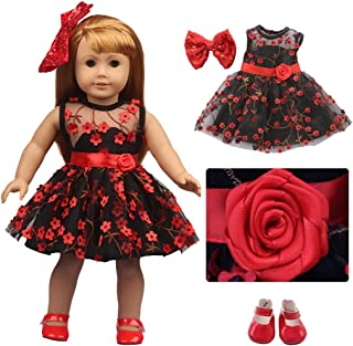 yeesport 18 Inch Doll Princess Dress Set Flower Doll Dressing Set Doll Clothing Set with Shoes & Hairpin Girl Doll Holiday...