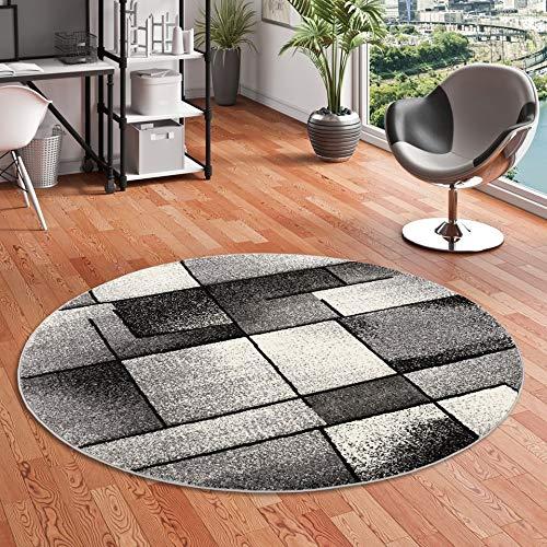 Designer Teppich Brilliant Grau Anthrazit Fantasy Rund in 3 Größen