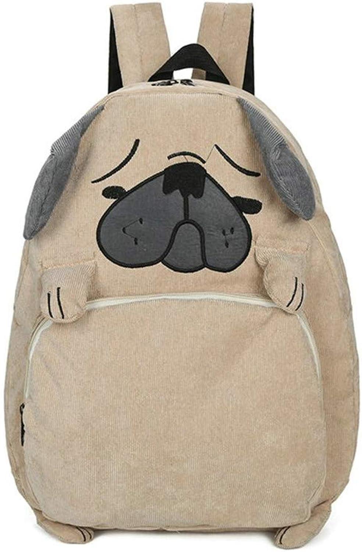 VHVCX Animal Cartoon Design Schultasche Cute Teenage Corduroy Mops-Hund Rucksack Rucksack Rucksack Preppy Reisetasche B07KKHRD6T  Verhandlung f81957