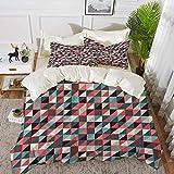 993 BettwäRetro, geometrisches buntes Mosaik-Muster mit halber Schnitt-Quadrat-Dreieck-Hippie-Entwurfs-Kunst, Mehrfarben,1 Bettbezug 240 x 260cm + 2 Kopfkissenbezug 80x80cm