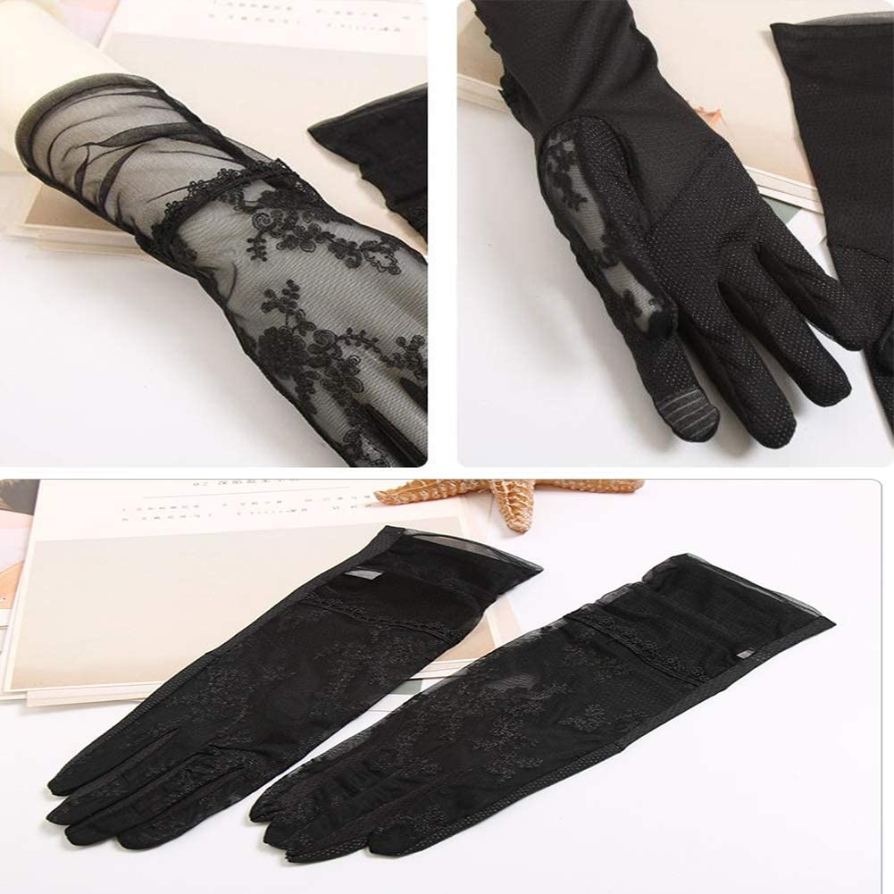 HUOQILIN Women's Gloves, Driving, Travel, Spring, Autumn, Summer Lace, Ultra-Thin Ice Silk, Sunscreen Gloves, UV Flash Socks Hand Sleeves (Color : Black)