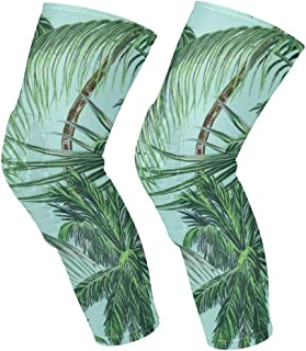 Knee Sleeve Palm Tree Leaves Full Leg Brace Compression Long Sleeves Pads Socks for Meniscus Tear, Arthritis, Running, Workout, Basketball, Sports, Men and Women 1 Pair