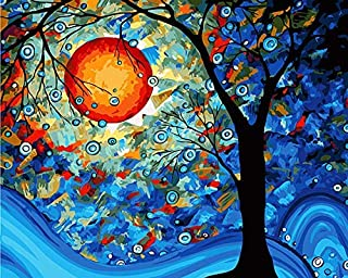 DIY Paint by Numbers Kit for Adults - Full Moon | Paint by Number Kit On Canvas for Beginners | Home Wall Decor | Pre-Prin...