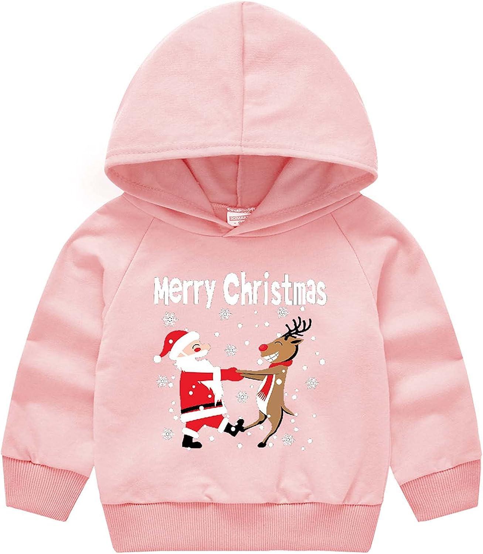 Toddler Boy Girl Christmas Pattern Print Hooded Pullover Sweater Santa Claus Children's Jacket Long Sleeve Sweatshirt