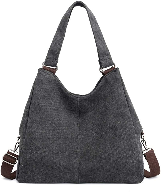 Shoulder Bag,Women Vintage Canvas Handbag,CrossBody Bag Female Fashion Casual TopHandle Bags Messenger Bag Solid color Tote