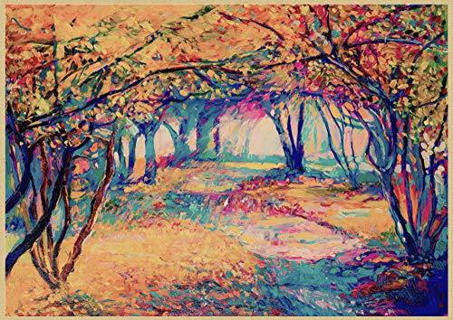 H/L Cartel Retro del Paisaje del Jardín Mediterráneo Abstracto Pintura Al Óleo Decoración del Hogar Mural Sin Marco 50X60Cm K10574