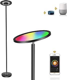 Lámpara de pie regulable RGB, Oeegoo 25W WiFi Smart lámpara de lectura, LED Luz de pie para salón, dormitorio, oficina, control táctil, compatible con APP, Alexa, IFTTT y Google Home, color negro