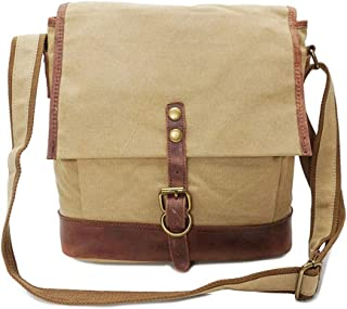 Mens Bag Simple Retro Zipper Waterproof Bag Canvas Messenger Shoulder Bag Color: Army Green High capacity