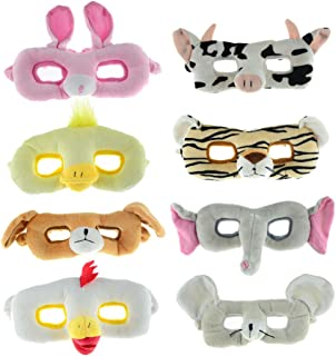 TOKYO-T Assorted Animal Masks for Kids Plush Toy Cat Elephant Tiger Dog Masquerade Halloween