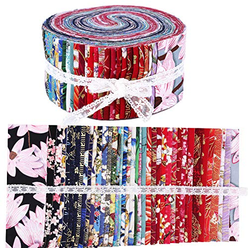Roll Up Cotton Fabric Quilting Strips, Fabric Jelly Rolls, Cotton Craft Fabric Bundle, Patchwork Craft Cotton Quilting Fabric for Crafting, Patchwork Fabric Sets with Different Patterns