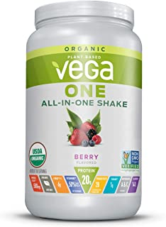 Vega One Organic Meal Replacement Plant Based Protein Powder, Berry - Vegan, Vegetarian, Gluten Free, Dairy Free with Vitamins, Minerals, Antioxidants and Probiotics (18 Servings, 1lb 8.3oz)