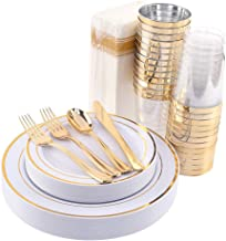 200 Pieces Disposable Dinnerware Set Include Gold Plastic Plates, Gold Plastic Silverware, Gold Plastic Cups, Linen Like P...