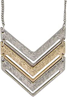 New! Chevron Mid-Length Necklace Gold and Silver 2 Toned Collection