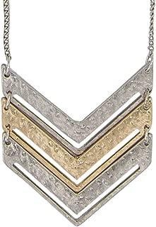long silver chevron necklace
