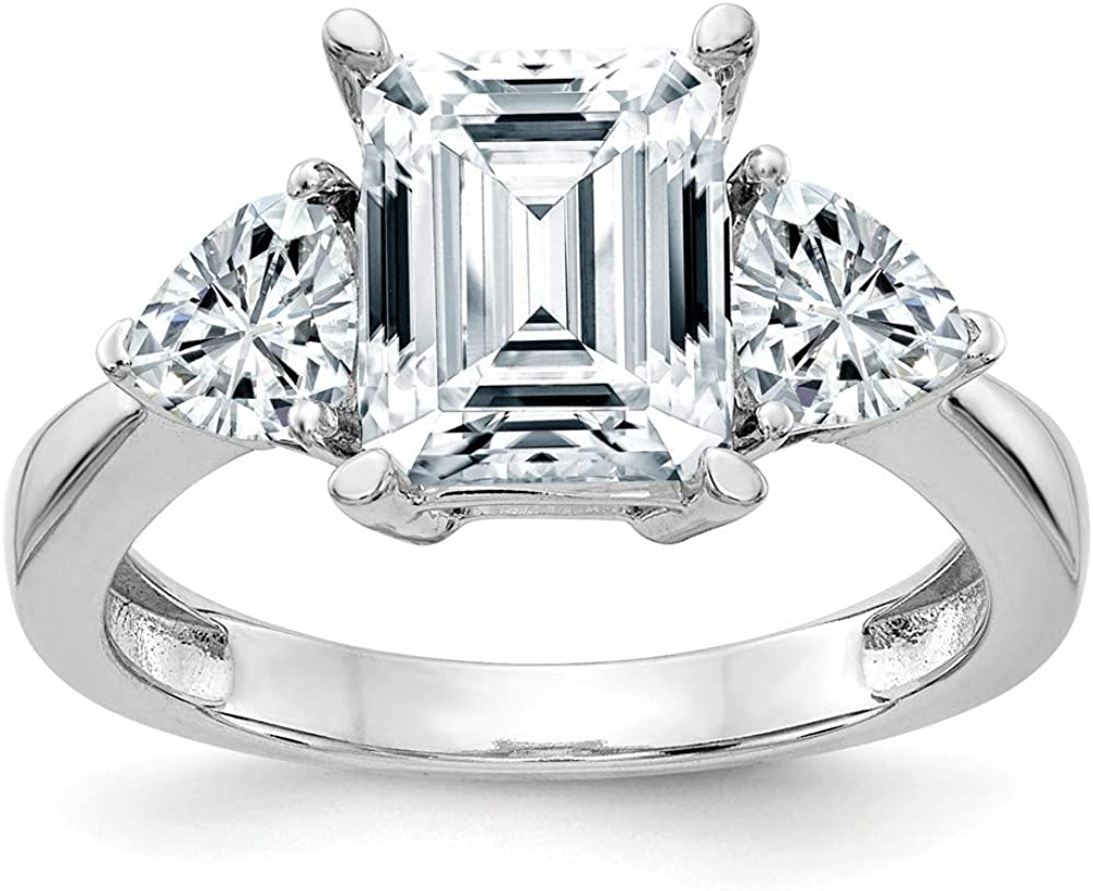 14K White Excellence Gold Three Max 46% OFF Stone 3.4 Moissanite cttw. Ring Engagement