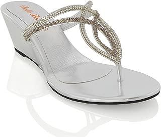 ESSEX GLAM Womens Diamante Wedge Heel Synthetic Toe Post Sandals
