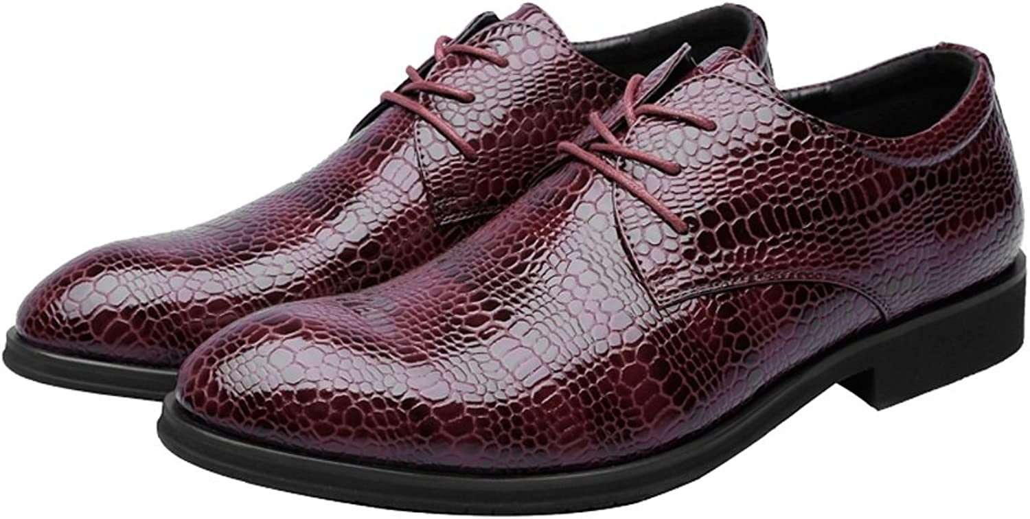 QianHaoQJu Men's Crocodile Skin Texture shoes PU Leather shoes Upper Lace Up Breathable Low Top Lined Oxfords Business shoes