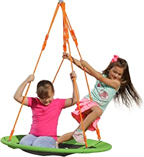 Kids Outdoor Spinner Tree Swing - 40'' Large Saucer Round Swing in Green - Durable Steel Frame - Adjustable Ropes - Easy to Install - Backyard Fun for Kids (300 lbs Limit)