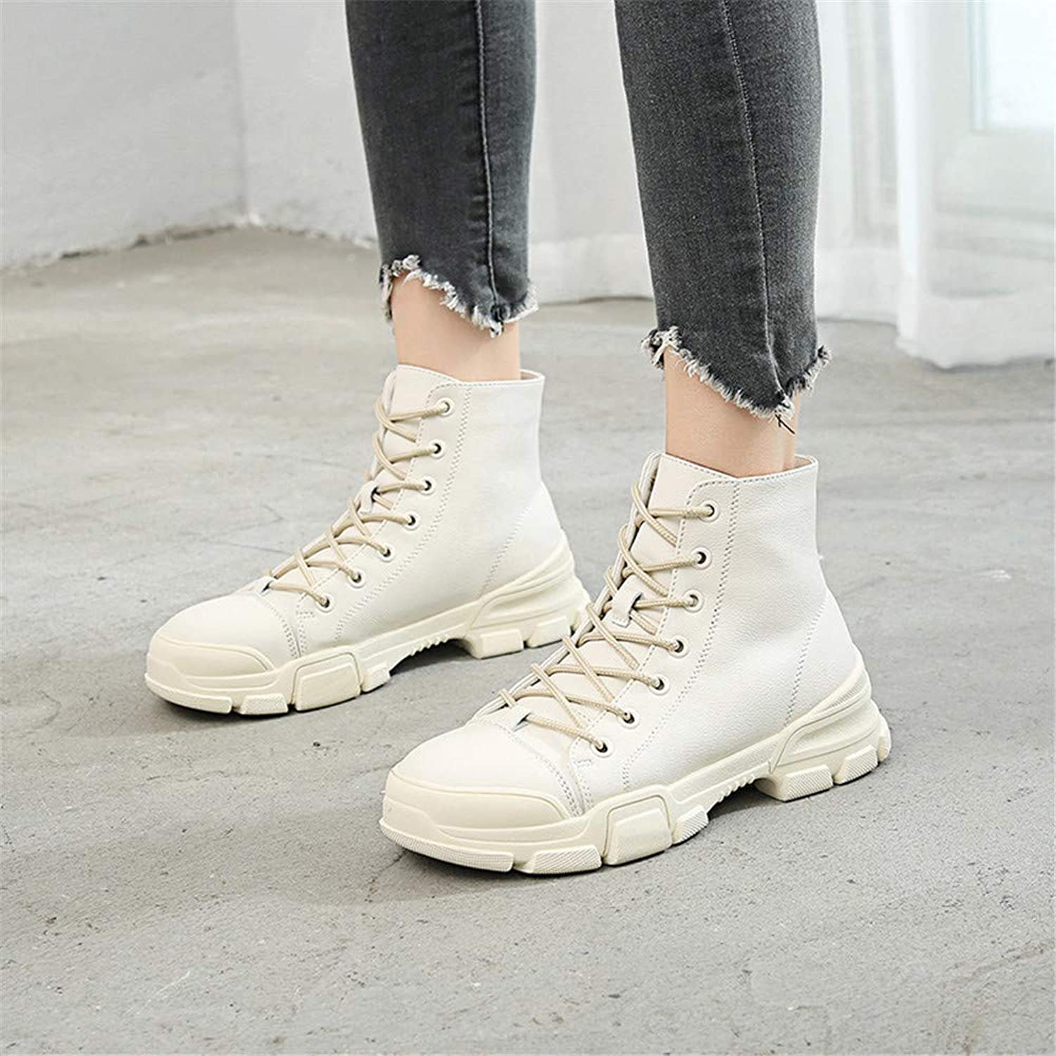 Autumn and Winter Laced with Thick Warm and Velvet Cotton Boots (color   White)