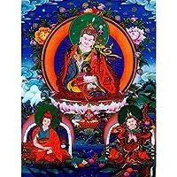 チベットタンカ チベットスタイルタンカリビングルームポーチハンギングキャンバスアートタンカホームデコレーション絵画 (Color : A, Size (Inch) : 50x66cm)