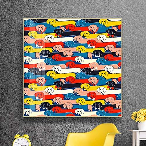 UIOLK Lindo Creativo Colorido Perro Lienzo Pintura Amante de Las Mascotas Cartel de Arte de Pared e Impreso Animal Regalo Imagen Sala de Estar decoracin del hogar