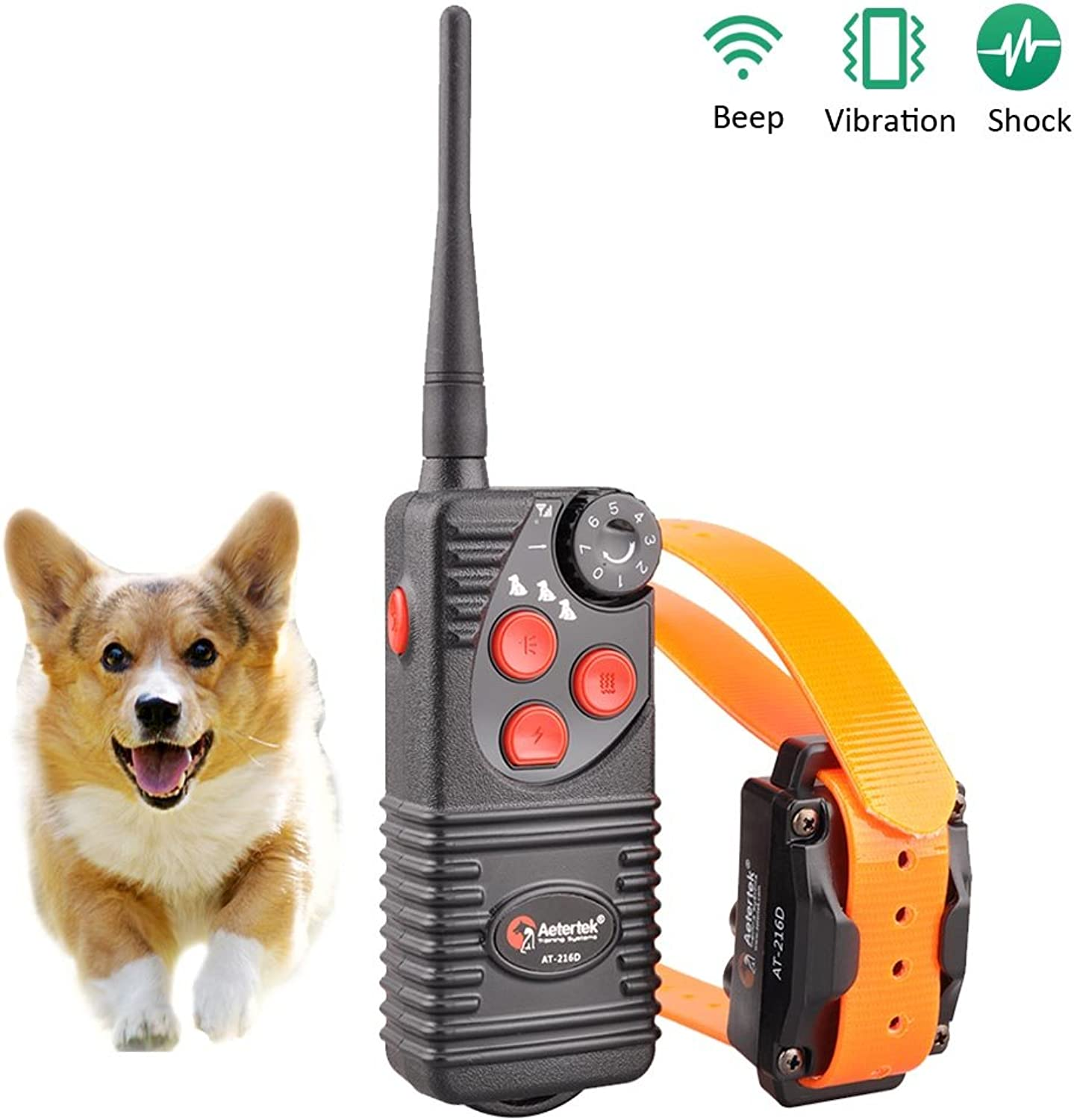 Aetertek 600 Yard Remote Dog Trainer with Waterproof Rechargeable Dog Training Shock Collar  7 Adjustable Shock Levels Plus BEEP Tone and Vibration (for 1 Dog Training)
