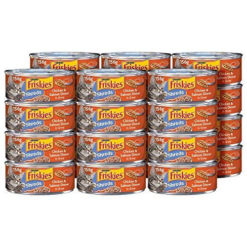 Purina Friskies Gravy Wet Cat Food, Shreds Chicken & Salmon Dinner in Gravy - (24) 5.5 oz. Cans