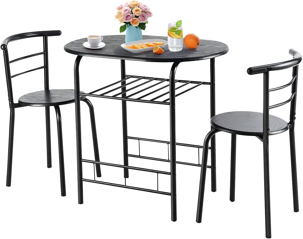 Nafort 9 Piece Round Dining Table Set for 9, Compact Table & Chairs Set for  Kitchen Space Saver Bistro Set Steel Frame w/Storage Shelf, Black