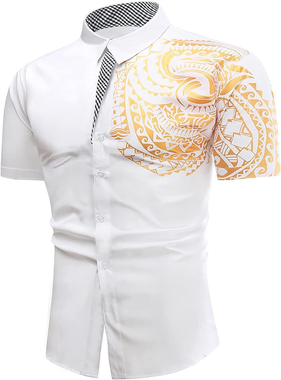 FUNEY Mens Dress Shirts Short Sleeve Tattoo Metallic Print Dashiki Shirt Slim Fit Paisley Cotton Button Down Shirts Tops