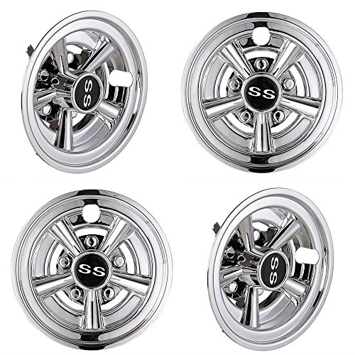 ZeHuoGe 4PCS Golf Cart Wheel Cover Hub Cap 8' SS 5-Spoke for EZGO Club Car Yamaha Easy Snap-in Chrome Finish US Delivery