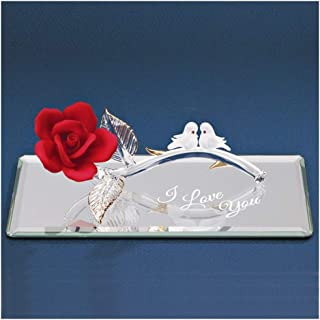 Glass Baron Red Rose With Doves Figurine,