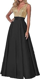 Women's V-Neck Sequin Prom Dress Long Backless Bridesmaid Dress W/ Pockets