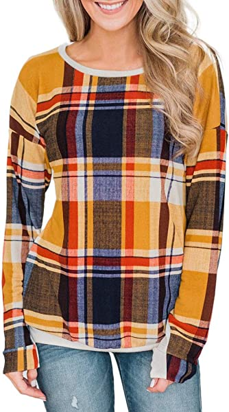 Kiminana Women Large Size Plaid Printed Round Neck Long Sleeve T Shirt Tops Blouses