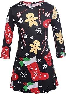 Ruiyige Women Girl Women's Christmas Santa Claus Print Pullover Flared A Line Dress