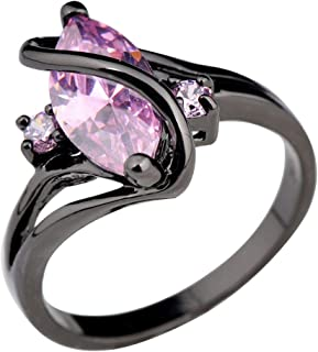 Patcharapa Jewelry (Pink Sapphire) Marquise Cut Colorful Sapphire S Shape Black Gold Filled Wedding Ring Size 3-12 (11)