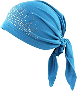 Gilroy Women's Rhinestone Muslim Turban Chemo Cap, Hat Liner for Cancer Hair Loss
