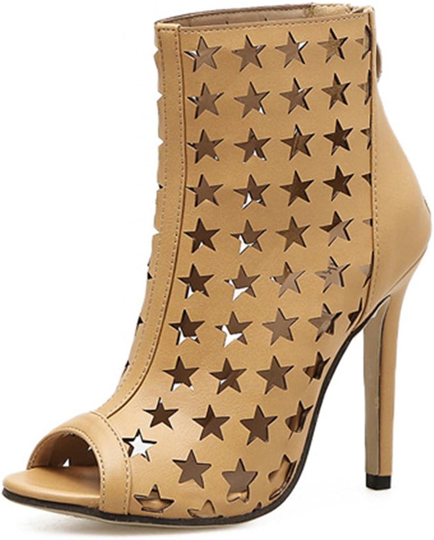Fancyww Women's Strappy Open Toe High Heel