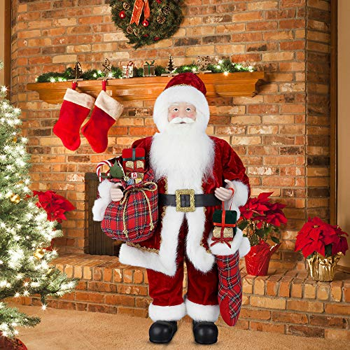 """Uten 24"""" Santa Claus, Standing Christmas Figurine Figure Decor with Christmas Sock and Gift Bag for Holiday Party Home Decoration"""