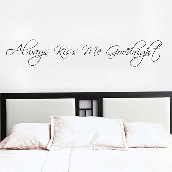 MoharWall Always Kiss Me Goodnight Bedroom Wall Quotes Decal Love Saying Sticker Vinyl Art Women Decor Living Room