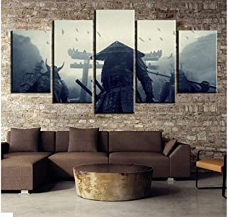 FEISENWLH Five Panel pantings 5 Piece Paintings Retro Photo Samurai Painting Oil Painting Mural Art Picture Home Decoration Living Room Canvas Mural Decoration