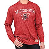 Elite Fan Shop Wisconsin Badgers Retro Long Sleeve Tshirt - X-Large - Cardinal