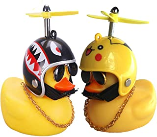 2 Pcs Rubber Duck Toy Car Ornaments Yellow Duck Car Dashboard Decorations with Take-Copter Helmet for Adults, Kids, Women,...