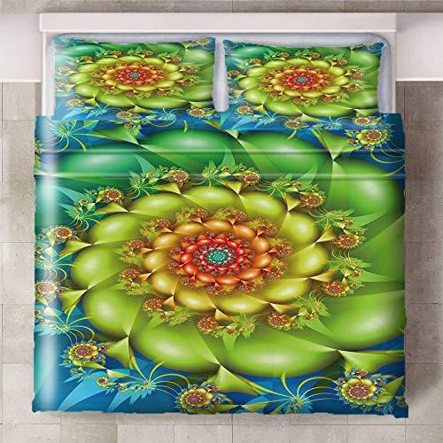 Teqoasiy - Ropa De Cama Infantil - Impresión Digital 3D Colores Plantas Flores 260x230cm 3 Piezas Suave Microfibra Juego De Funda Nórdica - con 2 Fundas De Almohada - Antialérgico Funda De Edredón
