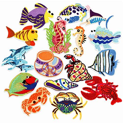 PHOGARY 16 piezas Parches de pescado para niños (planchados o cosidos), Apliques Bordados de Vida Marina Tamaño Variado - Coser Parches para Ropa Chaquetas Mochilas Jeans bebé