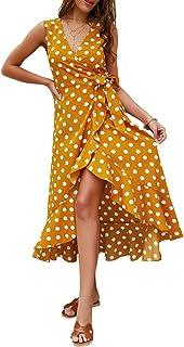 Joick Women Bohemian Dress Summer Dot Pattern Dress V-Neck Sleeveless Irregular