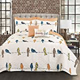 Lush Decor Rowley Quilt-Reversible 7 Piece Bedding Set with Floral Animal Bird Print and Decorative Pillows-Full Queen-Multicolor, Multi